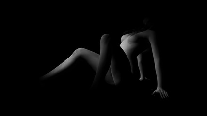 sexy nude woman black and white Art