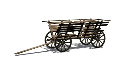 Ancient wooden wagon - isolated on white background - with shadow on the ground
