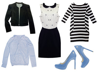 Fashion female collage clothes. Set of woman clothing.