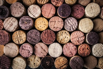 Spoed Foto op Canvas Wijn Wine corks background close-up