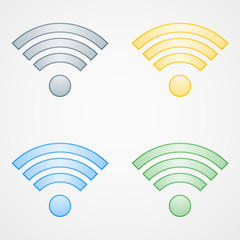 Wifi icons in different colors on white background. Vector illustration.