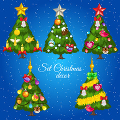Five green Christmas trees with text on a blue background
