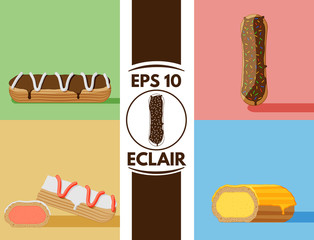 Flat eclair collection eps10