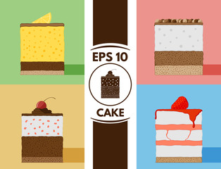 Flat cakes collection eps10