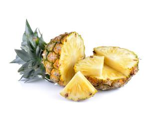 Sliced of ripe pineapple  on white  background