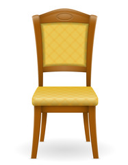 wooden chair furniture with padded backrest and seats vector ill