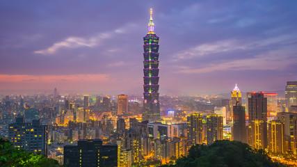 Taipei skyline at twilight in Taiwan