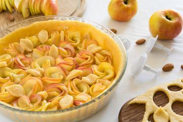 Homemade apple rose tart
