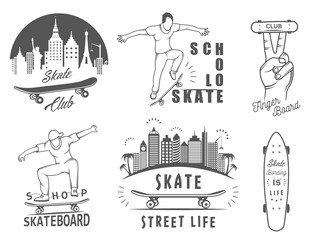 Set Vector Retro Skateboarding Logo and Badge