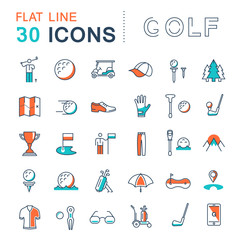 Set Vector Flat Line Icons Golf