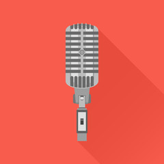 Retro microphone flat icon