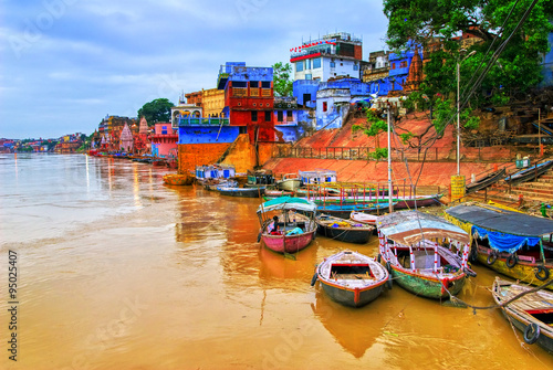 Wall mural View of Varanasi on river Ganges, India