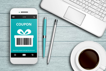 mobile phone with discount coupon computer and coffee