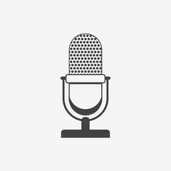 Retro microphone monochrome icon