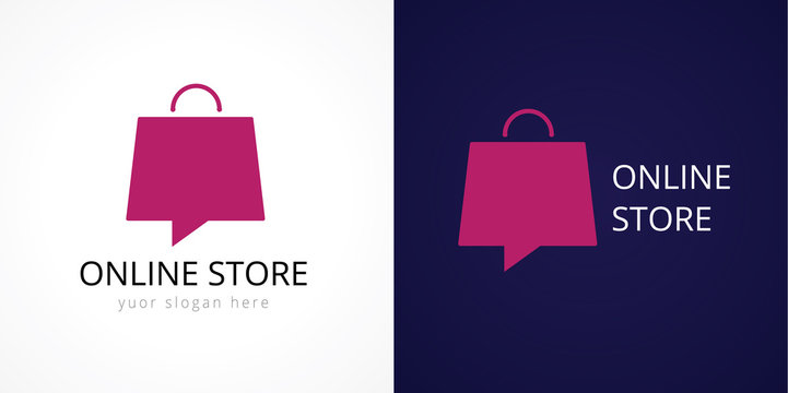 Online store logo. Shops, sale, discount, store or shop the web element in the form of vector shopping bag
