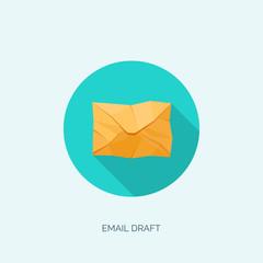 Vector illustration. Flat envelope. Emailing and global communication. Letter. Social network