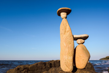 Symbolic figurines of the stones on the seashore
