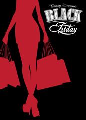 Elegant shopping silhouette woman Black Friday advertising background. Vector illustration