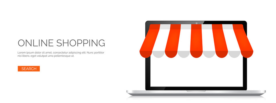 Vector illustration. Laptop. Online store, internet shopping. Web deals and currency