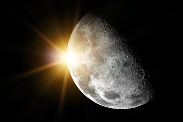 Moon with sun - Elements of this image furnished by NASA