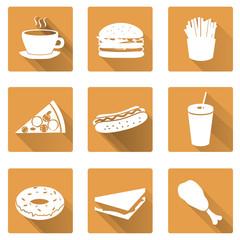 fast food flat orange icons with shadow set eps10