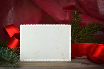 Empty vintage Christmas photo frame