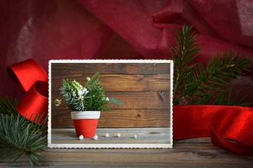 Vintage photo of natural Christmas decoration