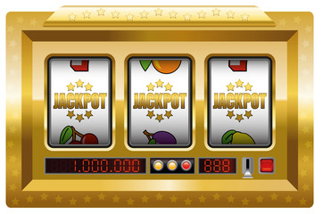 Jackpot symbols slot machine. Illustration over white background.