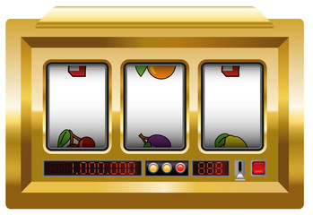 Golden slot machine with three blank reels to insert your company logo or any text or picture in. Illustration over white background.
