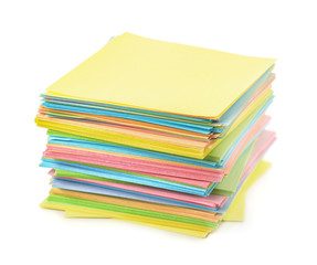 Stack of color paper notes