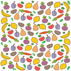 bright colorful background with a pattern of vegetables and fruktova white background
