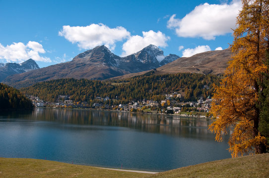 .Overview of Lake St. Moritz, Switzerland