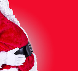 santa belly on red background