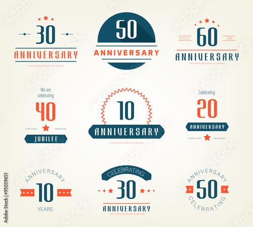 "30 Year Anniversary Symbol: ""Vector Set Of Anniversary Signs, Symbols. 10, 20, 30, 40"