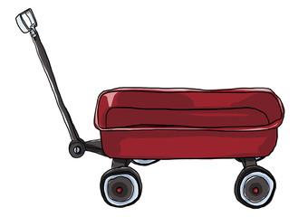 Vintage red   Pull Mini Wagon illustration