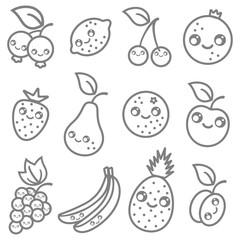fruits in kawaii style