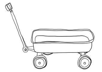 Vintage Pull Mini Wagon lineart illustration