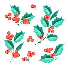 Christmas mistletoe holiday set.