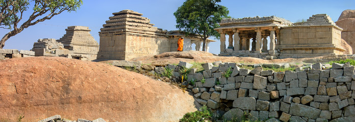 Wall Mural - Panorama of ruins of Hampi, a UNESCO World Heritage Site, India.