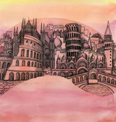 the panoramic view of the Italy city hand drawn outline famouse building isolated on tne color background