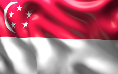 Flag of the Singapore waving in the wind
