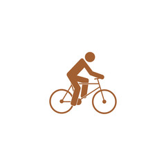 Icon cyclist, bike route sign.