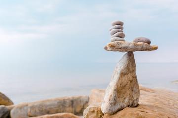 Zen balance of white stones