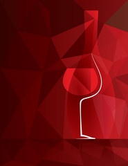 Wine Glass and Bottle Background. Wine bottle and glass with red wine on colorful background. Fully scalable vector illustration.