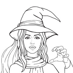 Stylish witch in hat and scarf outlined, isolated on white background, vector halloween pop art comic style illustration