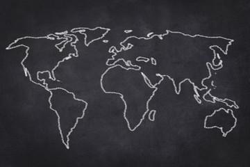 Weltkarte Zeichnung auf schwarzer Tafel - Welt Karte