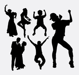Dancer pose, male, female, and kid silhouette. Good use for symbol, logo, web icon, game elements, mascot, or any design you want. Easy to use.