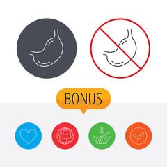 Stomach icon. Gastroscopy health sign.