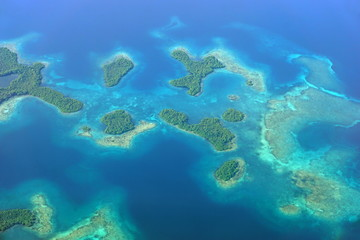 Aerial seascape with islands and coral reef Panama