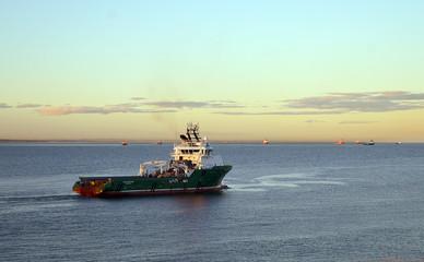 The Norwegian Havila Neptune oil rig supply vessel leaves Aberde